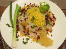 Mariniertes Safranhähnchen mit persischem Juwelenreis und Berberitzen - Rezept