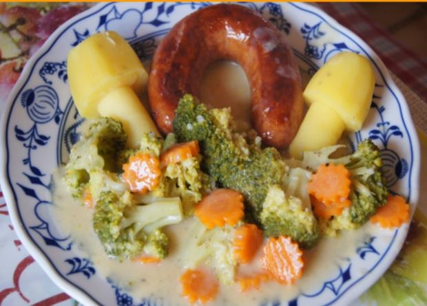 Brägenwurst mit Möhren-Brokkoli-Gemüse und Kartoffelpilzen - Rezept - Bild Nr. 603