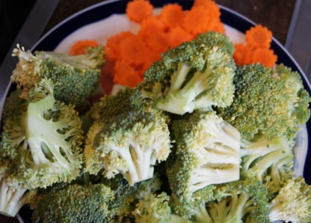 Brägenwurst mit Möhren-Brokkoli-Gemüse und Kartoffelpilzen - Rezept - Bild Nr. 606