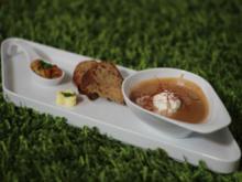 Maronencreme-Suppe mit gebratenen Garnelen - Rezept
