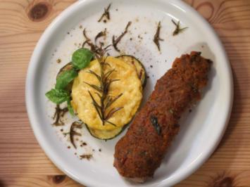 Lammlachse mit Oliven-Tomaten-Kruste und Polenta-Zucchini-Gratin - Rezept