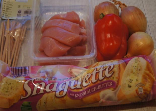 Schaschlik-Putenspieße mit Currysauce und Snaguette - Rezept - Bild Nr. 755