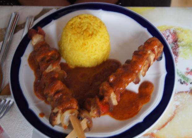 Schaschlik-Putenspieße mit Currysauce und Curry-Reis - Rezept - Bild Nr. 758