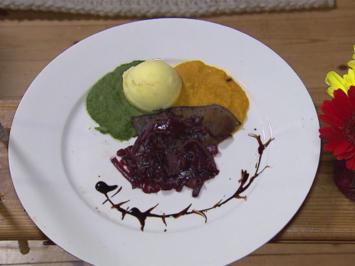 Gebratene Lammleber auf Spinat-/Kartoffel- und Kürbisbett mit karamellisierten Zwiebeln - Rezept - Bild Nr. 2