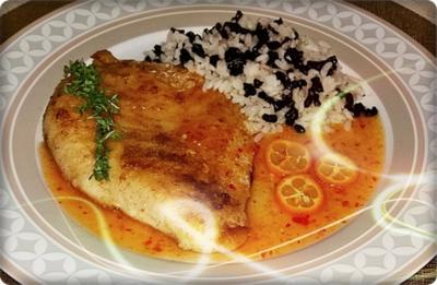 Victoriasee-Barsch-Filet mit Reis und  Kumquatsauce - Rezept