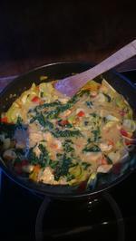 Curry-Hühnchen mit Gemüse und Blatt Spinat - Rezept - Bild Nr. 931