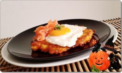 Rezept: Hokkaido-Kartoffel-Rösti mit Spiegelei und Wildlachs