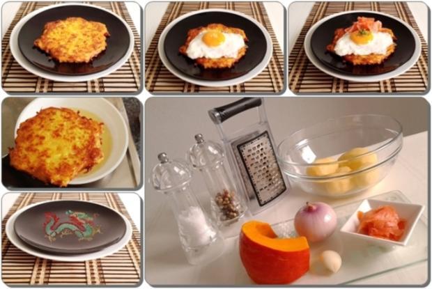 Hokkaido-Kartoffel-Rösti mit Spiegelei und Wildlachs - Rezept - Bild Nr. 942