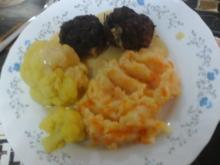 Buletten asiatisch gewürzt mit Sauce, Curry-Blumenkohl und Möhren-Kartoffel-Stampf - Rezept - Bild Nr. 941