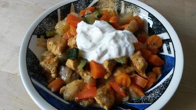 Cremige Gemüse - Hähnchen Pfanne - Rezept