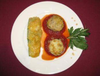 Dreierlei gefüllte Gemüse auf frischem Tomatenspiegel - Very Vegetable - Rezept