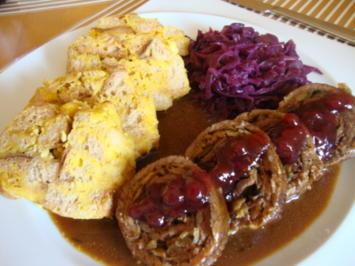 Rezept: Marinierte Rinderroulade, gefüllt mit Parmaschinken, Zwiebel und Waldpilzen