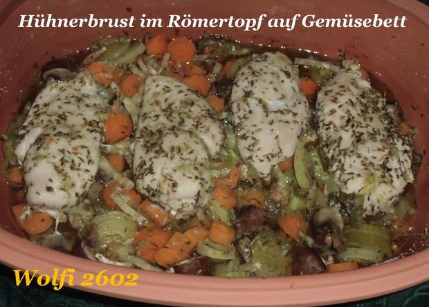 (Huhn) Hähnchen auf Gemüsebett im Römertopf - Rezept - Bild Nr. 953