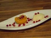 Dessert: Gebackene Pfirsisch mit Honig, Vanilleeis und Granatapfelkernen - Rezept