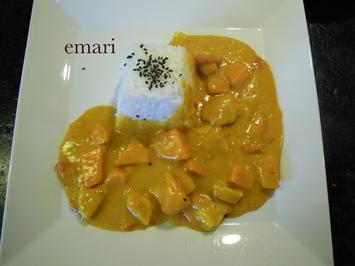 Rezept: Kokos Curry mit Pute & Süßkartoffeln