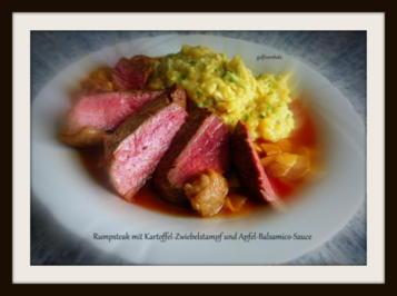 Rumpsteak mit Zwiebel-Kartoffelstampf und Balsamico-Apfel-Sauce - Rezept - Bild Nr. 1036