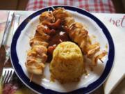 Hähnchenbrustfilet-Zwiebel-Schaschlik mit Currysauce süß-sauer und Zwiebel-Curry-Reis - Rezept - Bild Nr. 1147