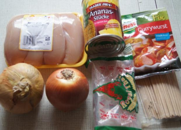 Hähnchenbrustfilet-Zwiebel-Schaschlik mit Currysauce süß-sauer und Zwiebel-Curry-Reis - Rezept - Bild Nr. 1148