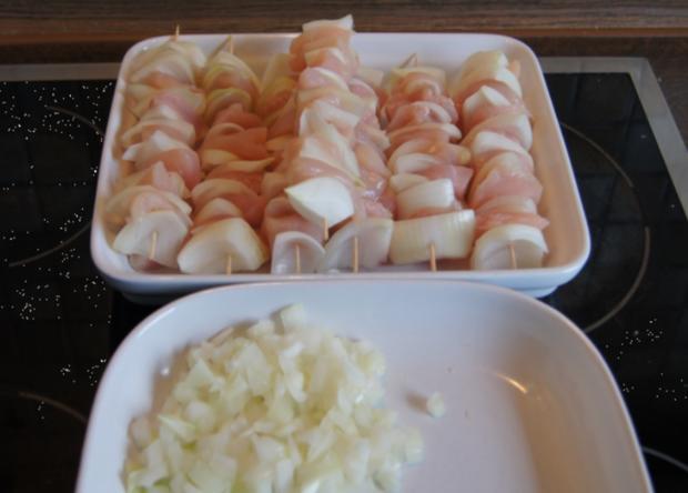 Hähnchenbrustfilet-Zwiebel-Schaschlik mit Currysauce süß-sauer und Zwiebel-Curry-Reis - Rezept - Bild Nr. 1150