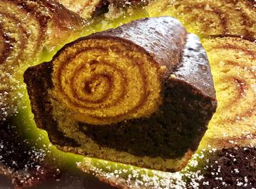 Mazu12, Marmorkuchen-Biskuitrolle mit Marmelade, Zwei Kuchen in Einen - Rezept - Bild Nr. 1208