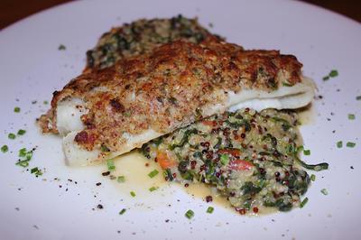 Überbackener Seelachs mit Knusperkruste und Quinoa-Risotto - Rezept