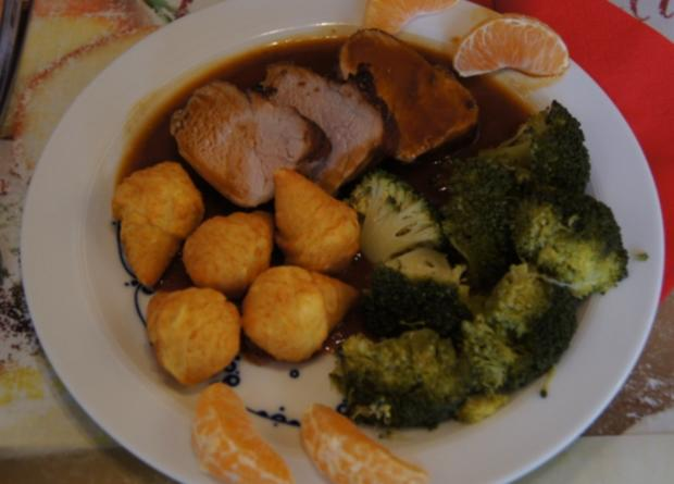 Würziges Schweinefilet mit pikanter Sauce, Brokkoli und knusper Kroketten - Rezept - Bild Nr. 1343