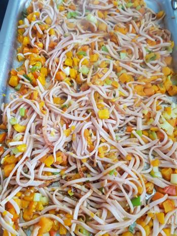 Gemüsiger Fleischsalat u. frisch gebackenem Klumpenbrötchen - Rezept - Bild Nr. 1334