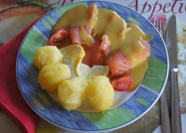 Räucherlachs mit Honig-Senf-Sauce und kleinen Pellkartoffeln - Rezept - Bild Nr. 1336