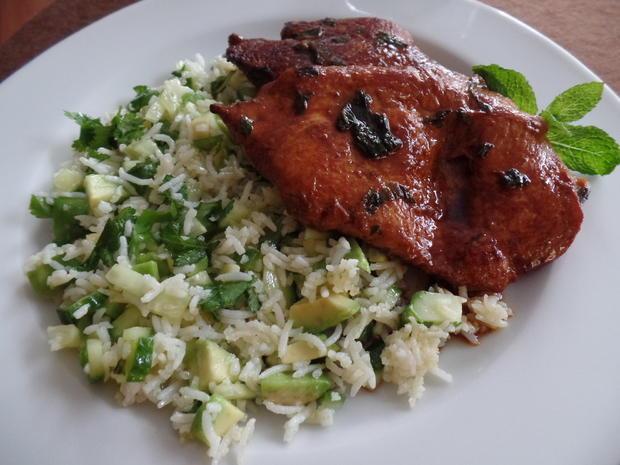 Limetten-Minz-Hähnchen mit Reissalat - Rezept - Bild Nr. 1365