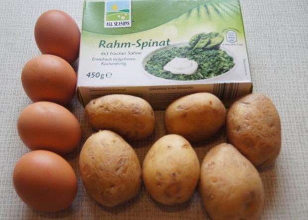 Gekochte Eier mit Zwiebel-Senf-Rahmspinat und angebratene .. Pellkartoffeln mit Petersilie - Rezept - Bild Nr. 1371