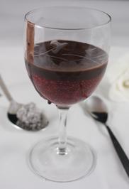 Warmes Chia - Himbeerdessert mit selbstgemachter Schokocreme - Rezept