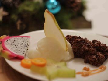 Kardamom-Schokoladen-Mousse & Birnensorbet - Rezept