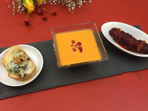 Tapas Melodie - Gazpacho, Tostada und Chorizo - Rezept