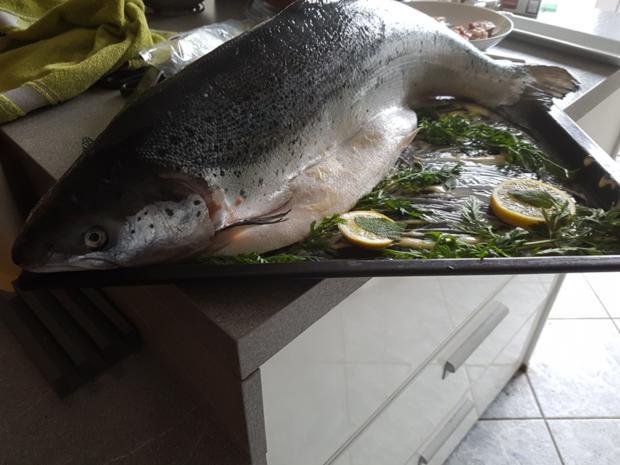 """Fisch / Lachs = ein """"Ganzer"""" Lachs mit Zitronenbuttersosse  à la Biggi - Rezept - Bild Nr. 6"""