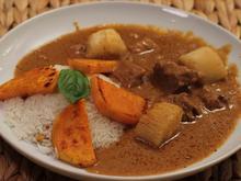 Rinderragout in herzhafter Erdnusssauce mit Afrikanischem Gemüse und Reis - Rezept
