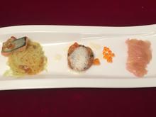 Dreierlei vom Saibling, roter Rettich, Meerrettich, Wasabi, Glasnudel - Rezept