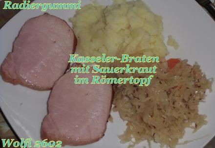 (Schweine) Kasseler-Rücken-Braten mit Sauerkraut aus dem Römertopf - Rezept - Bild Nr. 1740