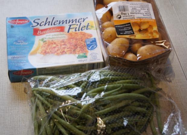 Schlemmer Filet mit grünen Bohnen und Pellkartoffeldrillingen - Rezept - Bild Nr. 3