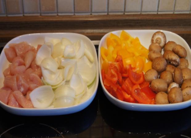 Hähnchenfilet-Gemüse-Schaschlik mit Sauce und Curry-Basmatireis - Rezept - Bild Nr. 1767