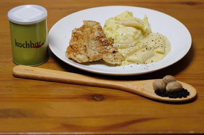 Knusperschnitzel mit Kartoffelstampf und Schwarzwurzel - Rezept - Bild Nr. 1820