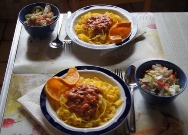 Fettucine-Pasta mit gemischten Salat - Rezept - Bild Nr. 2