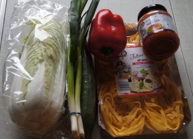 Fettucine-Pasta mit gemischten Salat - Rezept - Bild Nr. 3