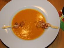 Karotten-Ingwer-Kokos-Suppe mit Scampispießen - Rezept - Bild Nr. 1936