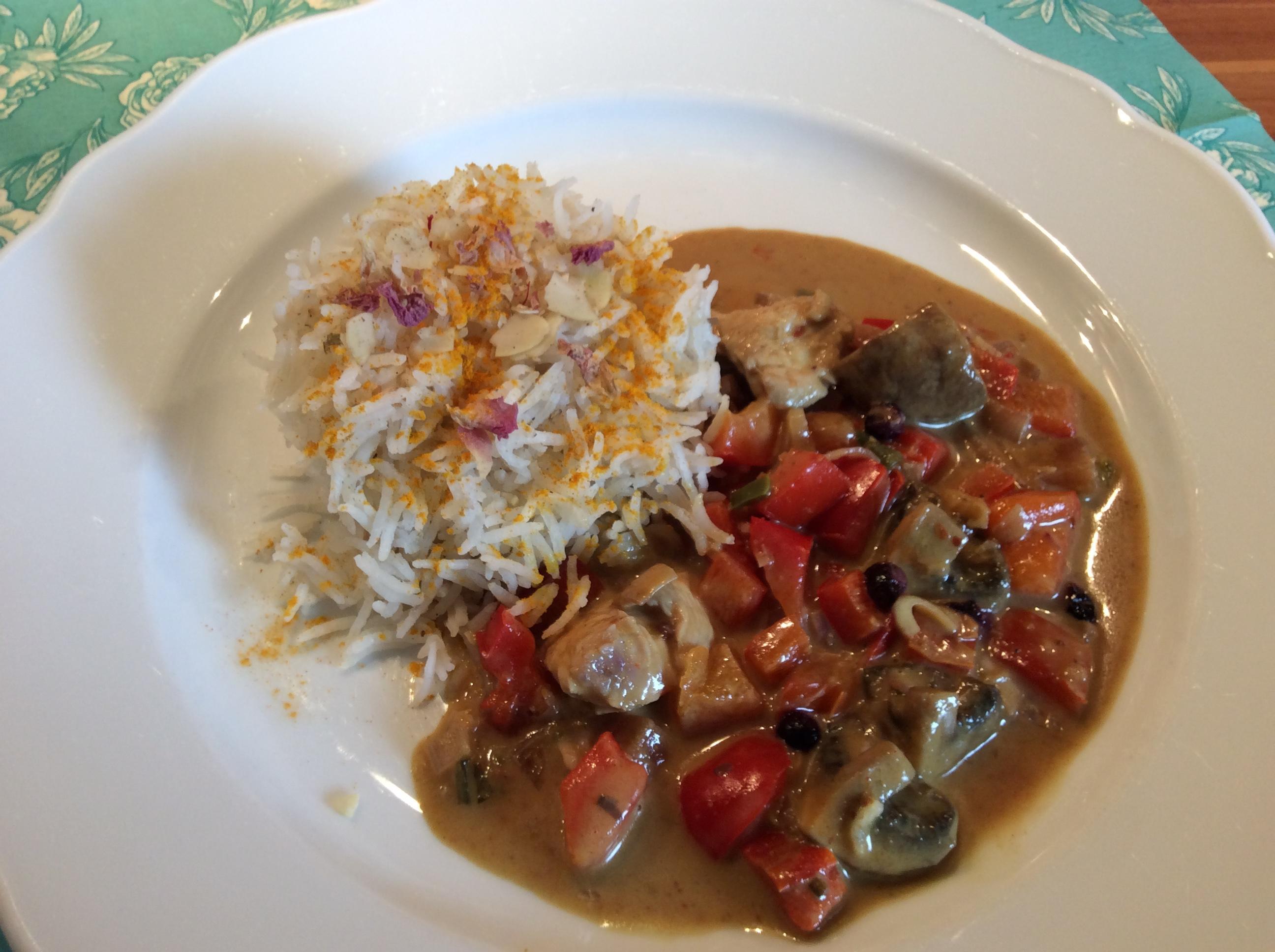Curry mit Heidelbeeren, Pilzen und Paprika und parfümiertem Reis - Rezept Gesendet von DieDoris