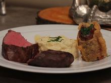 Duo aus Rehrücken und Rinderfilet mit Kartoffel-Sellerie-Püree und Serrano-Bohnen - Rezept - Bild Nr. 2059