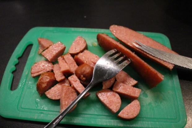 Salzbohnenkartoffelpüree mit Cabanossi und Spiegelei - Rezept - Bild Nr. 2077