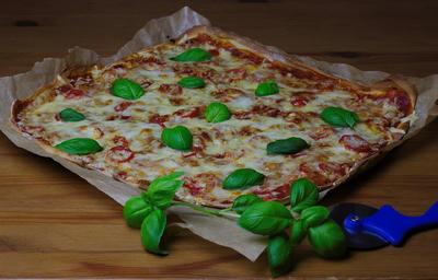 Tomate-Käse-Pizza mit Basilikum - Rezept - Bild Nr. 2074
