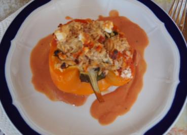 Gefüllte Paprika mit Schafskäse und Reis mit Gemüse - Rezept - Bild Nr. 2