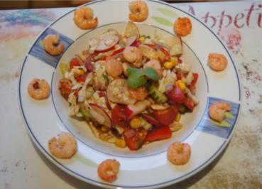 Gemischter Salat mit Soja-Essig-Dressing und Party Garnelen - Rezept - Bild Nr. 2099