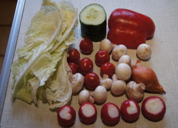 Gemischter Salat mit Soja-Essig-Dressing und Party Garnelen - Rezept - Bild Nr. 2113